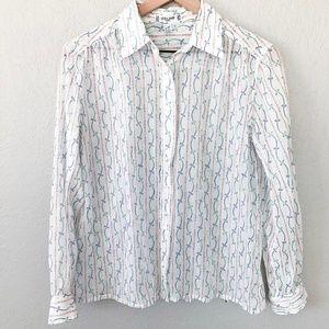 Vintage Celine Paris Sheer White Button Up Blouse